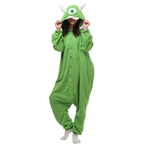 [VenusDress Monsters,Inc.Mike Pajamas Halloween Cosplay Costume Onesie Sleepwear] (Monsters Inc Onesie)