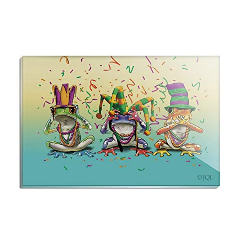 Hear No Evil Frogs - Party Frogs Mardi Gras See No Evil Hear Speak Rectangle Acrylic Fridge Refrigerator Magnet
