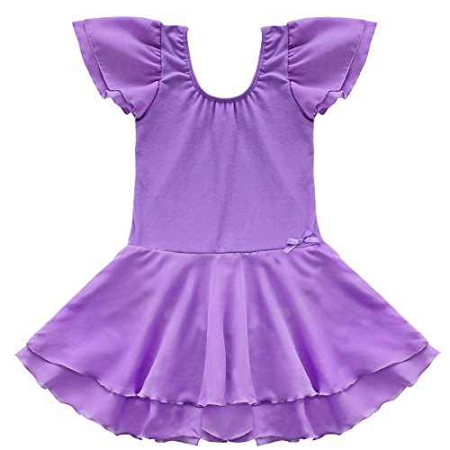 TiaoBug Girls Ballet Tutu Dance Costume Dress Kids Gymnastics Leotard Skirt Size 5-6 (Ballet Dance Costumes)