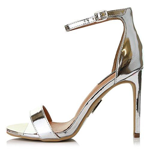 Dailyshoes Donna Tacchi A Spillo Sandalo Open Toe Cinturino Con Fibbia Alla Caviglia Piattaforma Sera Party Dress Scarpe Casual Argento Vernice