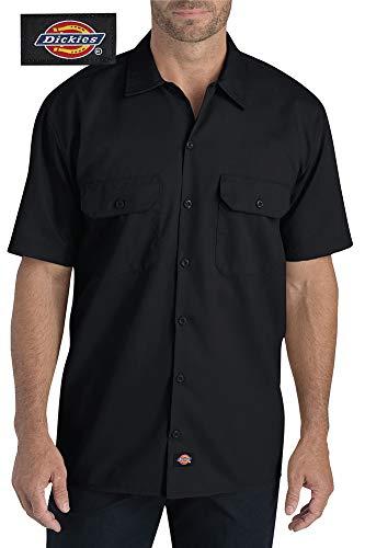 Dickies Men's Flex Short-Sleeve Twill Work Shirt (Black, Medium) ()