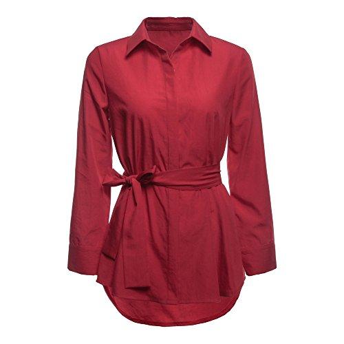 Shirt Mode Ceintuire lgant Vtement Taille T Manche Chemise SANFASHION Longue Rouge Noeud Cotton Longue qHw7C4I