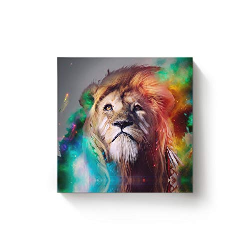 EZON-CH Square Canvas Wall Art Oil Painting Christmas Office Home Decor,Colorful 3D Lion Head Animal Pattern Artworks,Stretched by Wooden Frame,Ready to Hang,20 x 20 Inch