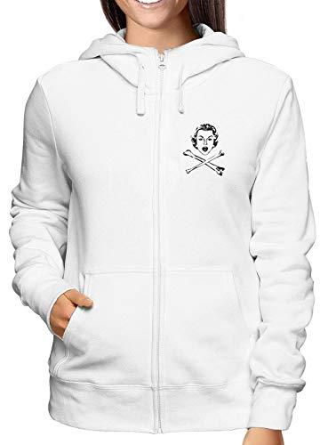 Cool Geek T0416 Bianca Zip shirtshock Donna Felpa Fun T Ossa xzq8AOWw
