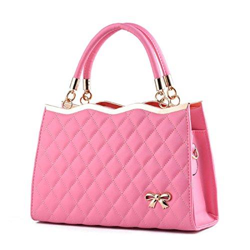 Moda Womens In Borse Pelle Dunland Bag Rosa Satchel Designer Bow Tote ZXUgdw