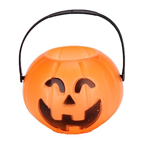 Halloween Bucket - Halloween Decorations Party Favors - Halloween Candy Basket - Trick or Treat Bucket, Orange 6.7