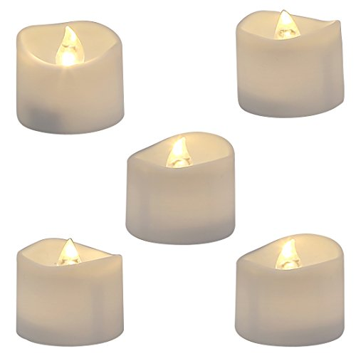 Homemory Realistic and Bright Flickering Bulb Battery Operated Flameless LED Tea Light for Seasonal & Festival Celebration, Pack of 12, Electric Fake Candle in Warm White and Wave Open (Battery Operated Flickering Tea Lights)