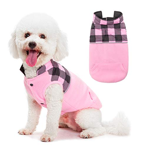 SCIROKKO Polar Fleece Dog Vest Winter Coat with Water-Proof Side - Reversible Pet Cold Weather Clothes - Plaid Jacket Cute Clothing for Puppy & Cats, Pink Small