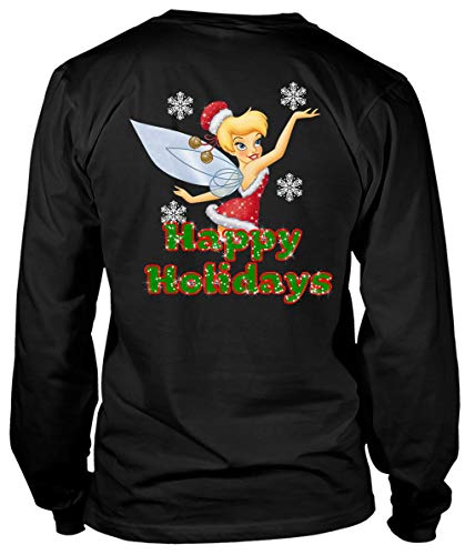 ROEBAGS Good Morning Merry Christmas Tinkerbell T Shirts, Ugly Christmas Sweater T Shirt - Long Sleeve Tees (S, Black) ()