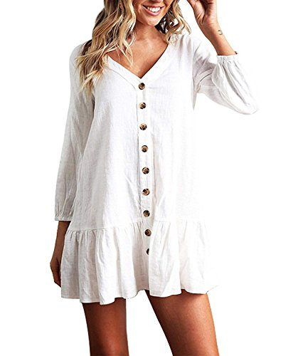 (Mansy Women's 3/4 Sleeve Button Front Loose Shift Dress Ruffle Tiered Dresses)