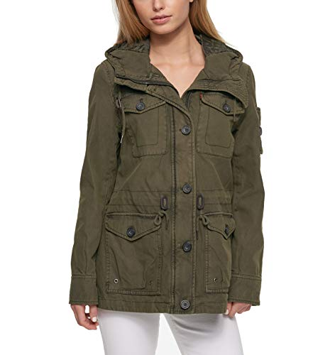 Levi's Women's Plus Size Cotton Four Pocket Hooded Field Jacket, Army Green, 1X ()