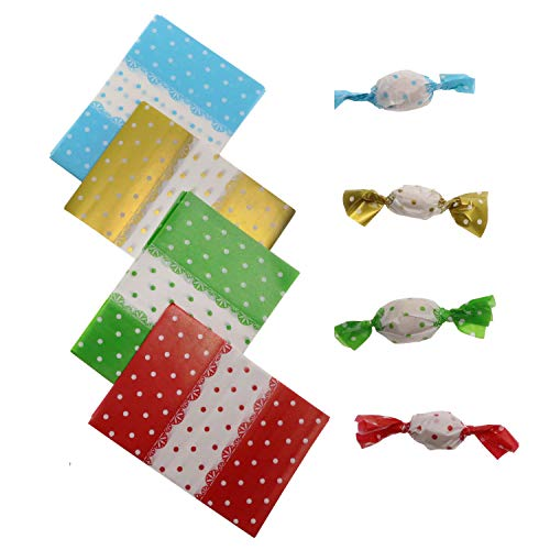 Penta Angel Candy Wrappers 400Pcs Twisting Wax Caramel Paper Sweets Lolly Baking Nougat Wrapping Paper for Homemade Wedding Birthday Christmas Chocolate Candy Packaging (Dot)