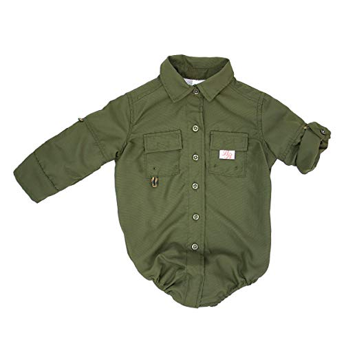 BullRed Baby Boys Green PFG Vented Fishing Shirt Button Up One Piece Snaps, 24m