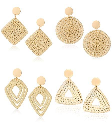Jstyle 4Pairs Handmade Rattan Hoop Earrings for Women Girls Boho Straw Wicker Woven Drop Earrings Dangle Geometric Statement Earrings Summer Jewelry ()