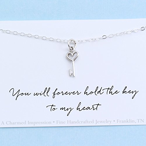 You will forever hold the key to my heart • Sterling Silver • Tiny Charm Necklace • Anniversary • Christmas Gift Idea for Her • Wife • Girlfriend