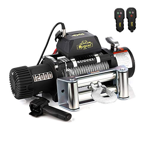 Steel Winch - RUGCEL WINCH Waterproof IP68 Electric Winch with Hawse Fairlead,Steel Wire Rope, 2 Wired Handle and 2 Wireless Remote (12000 lb.Load Capacity)