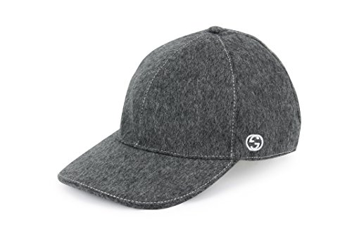 Gucci Wool Signature Web Stripe Baseball Cap, Charcoal 353505 (M (Medium)) - Gucci Cap Hat
