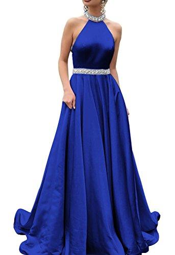 HONGFUYU 2018 Halter Prom Dresses Backless Neckline Rhinestone Beaded Formal Satin Evening Ball Gowns HFY202-Royal Blue-US10