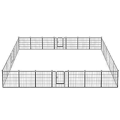 Yaheetech Heavy Duty Metal Dog Playpen - 32/40-inch Foldable Pets Playpen Dog Exercise Pen Barrier Fence Outdoor Indoor 16/24/32 Panel Black