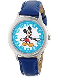 Kids' W000242 Mickey Mouse Stainless Steel Time Teacher Watch with Blue Leather Band
