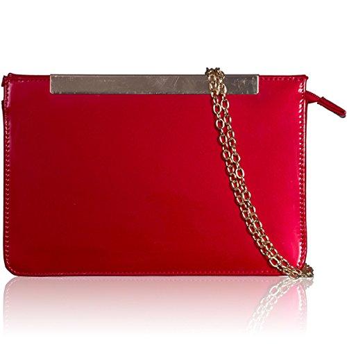 Xardi London, borsa pochette da donna in finta pelle, borsa da sera, festa, borsa a tracolla Red