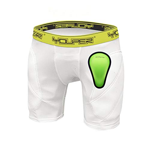 Youper Boys Youth Padded Sliding Shorts with Soft Protective Athletic Cup for Baseball, Football, Lacrosse, Field Hockey, MMA (White, Small) (Youth Pant Pocket 6)