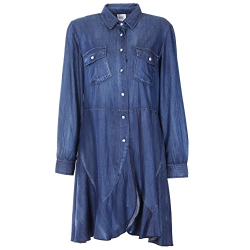NONOSIZE Womens Long Sleeves Button Closure Denim Casual Dress(L)