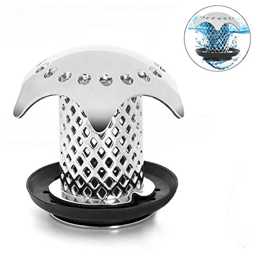 (Drain Hair Catcher Strainer,Tub Drain Protector Hair Catcher/Strainer/Snare,ABS Material Body Anti-Mold Fast Drain Protector with 4 Compatible Rubber Rings)