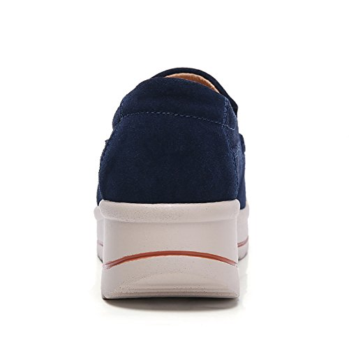 Loafers Comfortable Wide Slip Navy On Work Blue Sneakers Wedge YKH Platform Womens Shoes Suede wIxC5zfq