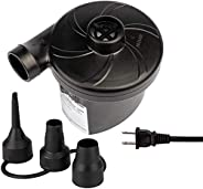 Electric Air Pump Inflate Deflate with 3 Nozzles, Portable Pump for Air Mattress, Paddling Pool, Swimming Ring