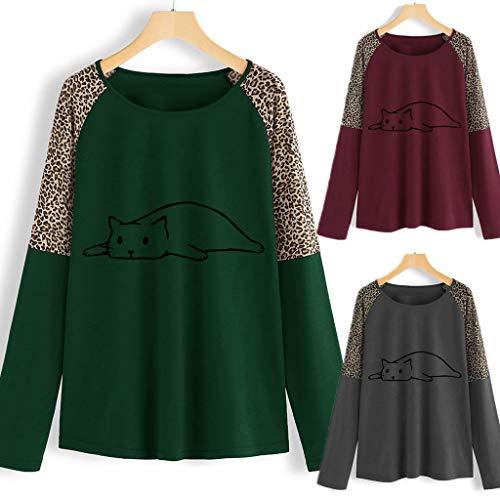 Rossa Felpa Cotone In Abbigliamento shirt Manica Lunga Adolescente Top Ragazza Donna Camicia Xxl A Buon Moda Mercato T Misto Camicetta Leopard Gilet a6xBq