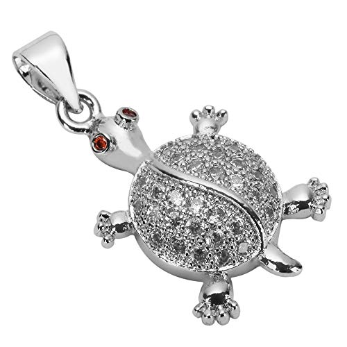 1pc Top Quality Silver Longevity Turtle Charm Pendant Simulated Diamond Pendant MCAC03 (Turtle Charm Earrings)
