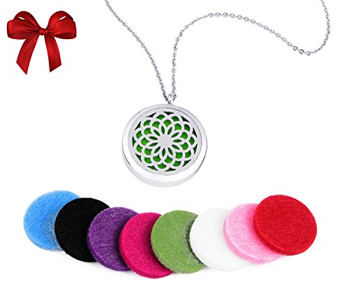 Ball In Lariat Necklace (DIFFUSER NECKLACE for Aromatherapy Essential Oils - Hypo-allergenic Stainless Steel Pendant Locket With Pads, So Wear & Enjoy Therapeutic Health and Uplifting Pure Aroma With)