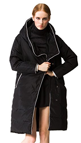 Orolay Women's Thickened Long Down Jacket with Hood Black XX