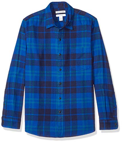 Longues Essentials Carreaux Slim En Amazon Manches Flanelle À Homme Chemise Blue Bleu bright Plaid 1wqx8