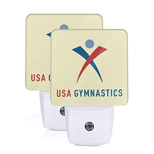 Black Shade Lamps Logo Team - Team USA Gymnastics Logo LED Night Light Lamp Bed Lamp Set of 2 with Dusk to Dawn Sensor