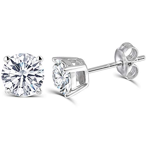 DovEggs 10K White Gold Post 1CTW 5mm Heart Arrows Cut Moissanite Stud Earrings Platinum Plated Silver Push Back for Women