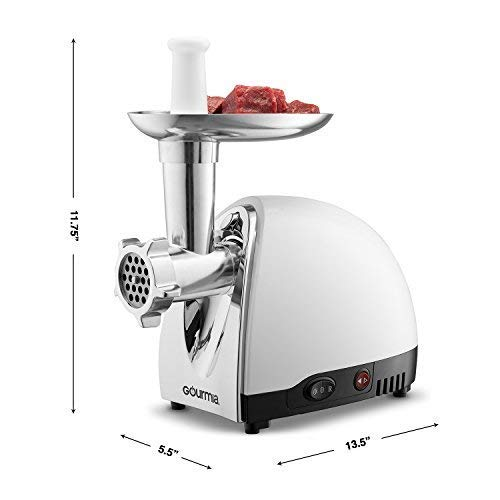Gourmia GMG525 Electric Meat Grinder - Accessory Kit with 3 Stainless Steel Grinding Plates, Sausage Horn, Kibbeh Attachment - Heavy Duty - 500W ETL Approved, 1000W max - Free Recipe Book
