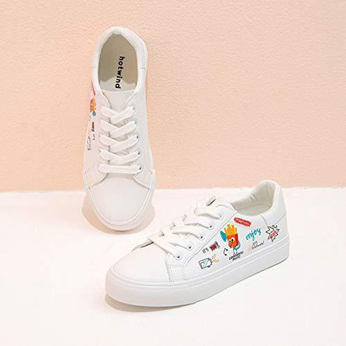 Traspirante Skate Da Donna Casual Scarpe Pelle Bianche Sneakers In Piatto Stringate Graffiti Fondo Bianca Cute Pu wqHECFPB8