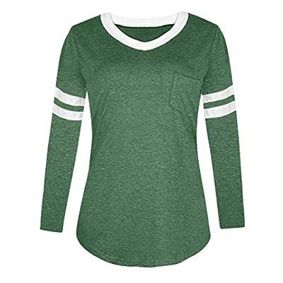 OWMEOT Womens Casual Curved Hem Long Sleeve T Shirt V Neck Side Slit Blouse