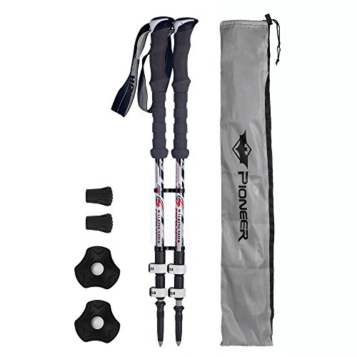 Carbon Fiber Trekking Poles For Mens with Quick and Easy Lock Cork Handle Carry Bag for Trekking Hiking Walking and Climbing