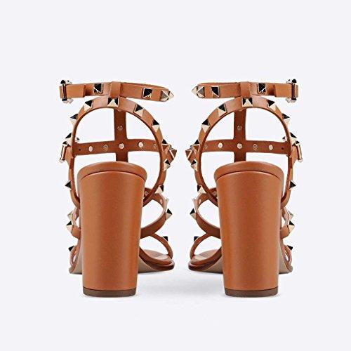SHEO sandalias de tacón alto Ronda femenina de rocío abierto con tacones altos con sandalias de remaches Marrón