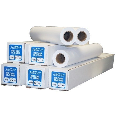 "Alliance Untaped CAD Paper Rolls 42"" x 150 Feet 20# Ink Jet Bond (4 Rolls Per Carton) 2"" Core"