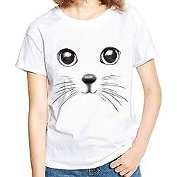 Lelili Women Fashion Tee Shirt Cute Cat Printed Short Sleeve Round Neck Plus Size Blouse Tops White