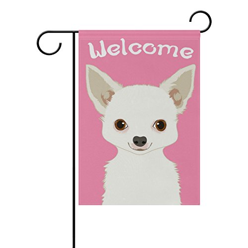 Chihuahua Dog Garden Flag - My Daily Welcome Chihuahua Dog Decorative Double Sided Garden Flag 12 x 18 inch
