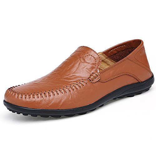 KRIMUS Mens Leather Loafers Breathable Casual Slip-on Driving (Tan Casual Loafers)