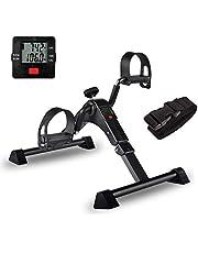 IPKIG Folding Pedal Exerciser - Portable Desk Bike, Under Desk Bike Pedal Exerciser for Leg and Arm Exercise, Low Impact, Adjustable Fitness Rehab Equipment for Seniors, Elderly (Black)