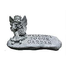 Bjzxz Decoración de Jardines Creative Angel Garden Welcome Statue Logo Accesorios Las Figuras De Jardín Están Hechas A Mano De Material De Resina Duradero Adecuado para jardín de jardín