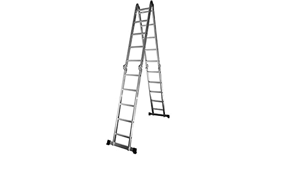 Escaleras de Aluminio Multifunción Plegable 4,75 m 4 tramos de 5 peldaños: Amazon.es: Bricolaje y herramientas