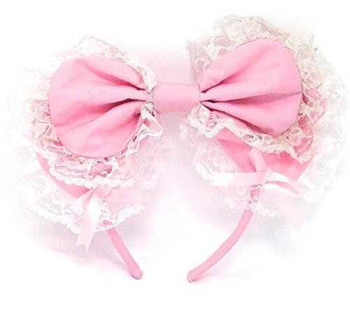 antaina Pink Victorian Ribbon Lace Hairlace Set Hair Elastic Lolita Bow (Lolita Bow)